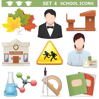 Schoolelementen set geïsoleerd op wit