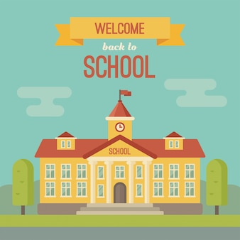 Schoolgebouw banner met tekst welkom terug op school