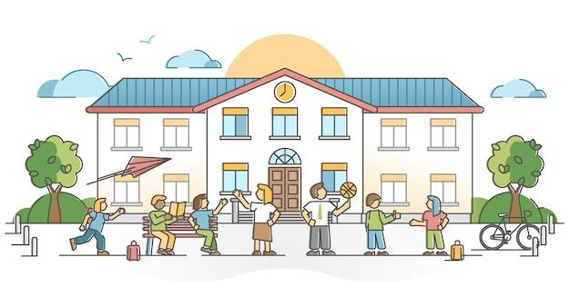 Schoolgebouw buitenkant met leerling of kinderen met leraren schetsen concept. studeren en academisch onderwijs vaardigheidstraining in het basis-, basis- of secundair huis met illustratie van kinderenmenigte