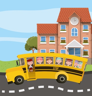 Schoolgebouw en bus met kinderen in de wegscène