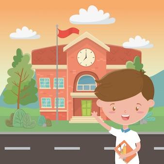 Schoolgebouw en jongen cartoon