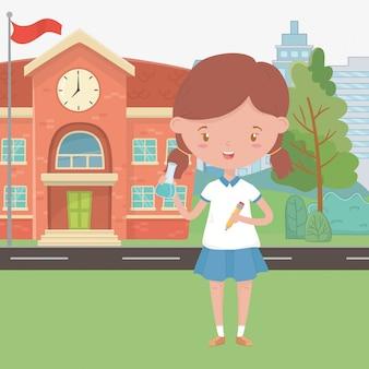 Schoolgebouw en meisje cartoon design