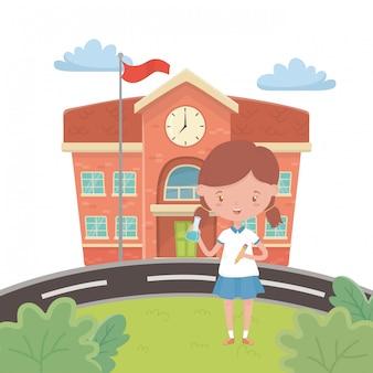Schoolgebouw en meisje cartoon