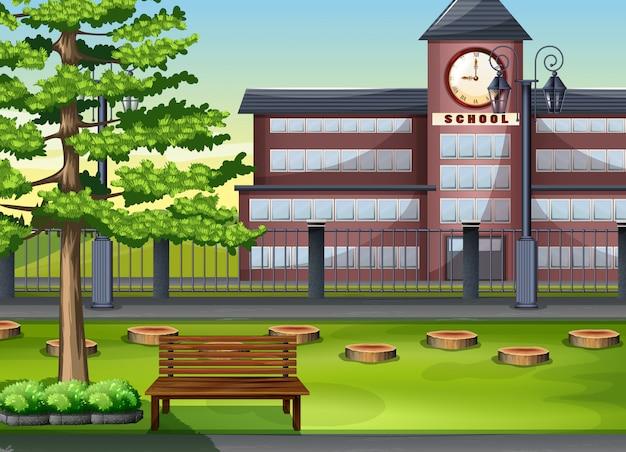 Schoolgebouw en speeltuin