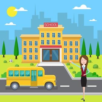Schoolgebouw exterieur leraar in de buurt van gele bus