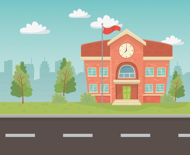 Schoolgebouw in de scene