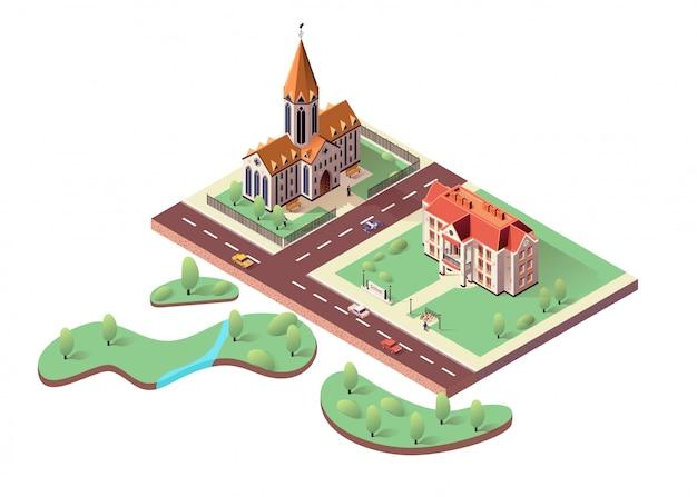 Schoolgebouw, katholieke kathedraal en stadspark