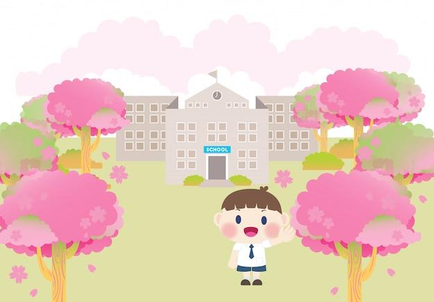 Schoolgebouw lente roze sakura boom afstuderen ceremonie seizoen