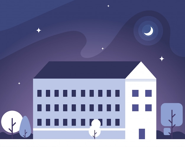 Schoolgebouw met nachtlandschap