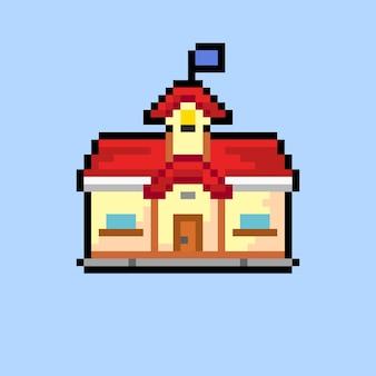 Schoolgebouw met pixelkunststijl
