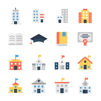 Schoolgebouw plat pictogrammen pack