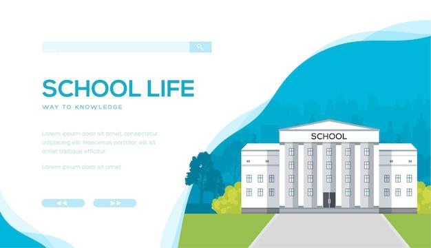 Schoolgebouw tegen stedelijk met bomen en struiken. college, universiteit, bibliotheekconstructie.