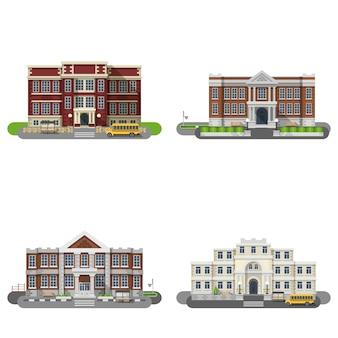 Schoolgebouwen vlakke set