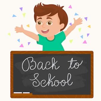 Schooljong geitje met een schoolbord. terug naar school
