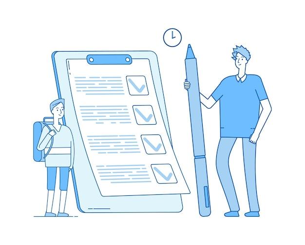 Schooljongen en checklist. student die timemanagement studeert