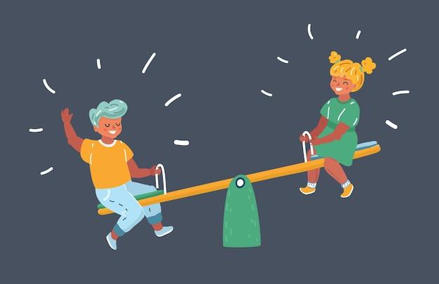 Schooljongen en een schoolmeisje op een wip