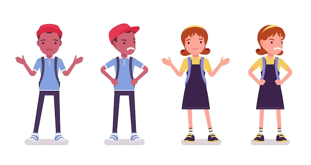 Schooljongen en -meisje in vrijetijdskleding verbijsterd, boos