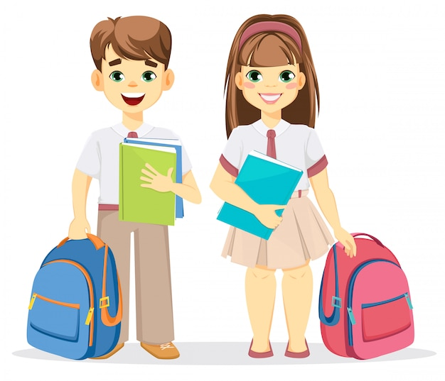 Schooljongen en schoolmeisje