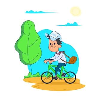 Schooljongen fietst met tas naar school. illustratie op witte achtergrond.