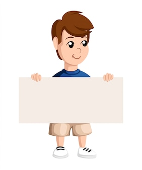 Schooljongen houdt een glimlach. sjabloon met plaats voor uw tekst. illustratie website-pagina en mobiele app.