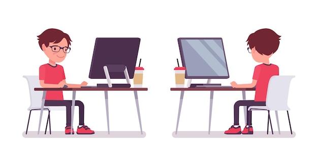 Schooljongen in vrijetijdskleding studeren op computermonitor. schattige kleine man met een bril, actief jong kind, slimme elementaire leerling tussen 7 en 9 jaar oud. cartoon vectorillustratie in vlakke stijl