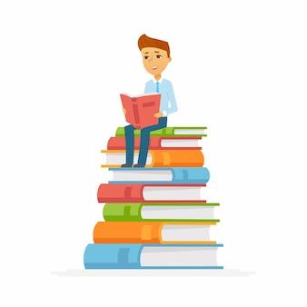 Schooljongen karakter van gelukkig kind zittend op boeken