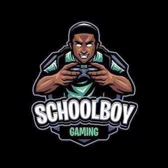 Schooljongen mascotte logo sjabloon