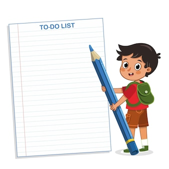 Schooljongen met een takenlijst vectorillustratie