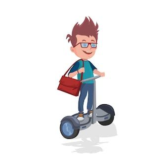 Schooljongen met rugzak die op gyroscooter berijdt