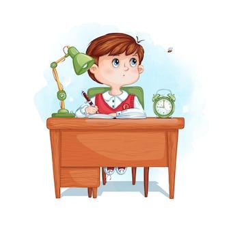 Schooljongen schrijft huiswerk en wordt afgeleid door een vliegende bij. thuis leren op afstand.