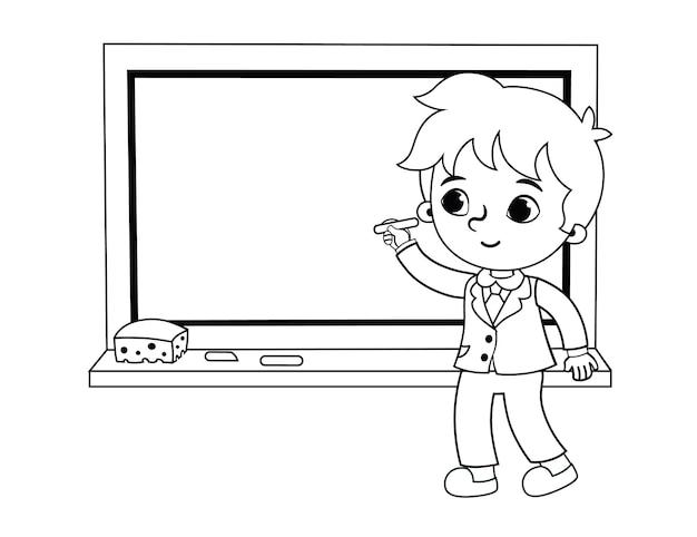 Schooljongen schrijven op het bord zwart-wit vectorillustratie