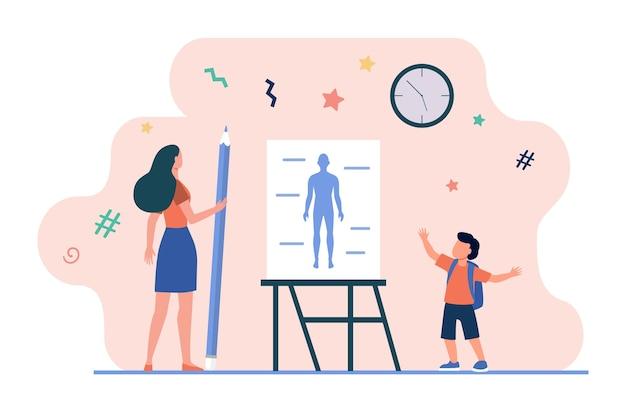 Schooljongen zegt anatomieles. leraar met potlood, menselijk lichaamsmodel op whiteboard vlakke vectorillustratie. school, klas, onderwijs