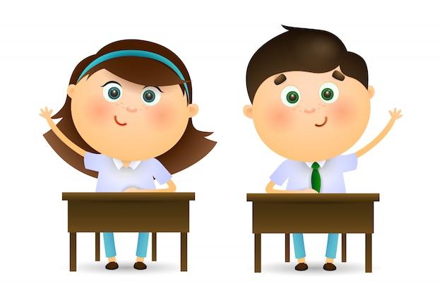 Schoolkinderen die handen opheffen bij les
