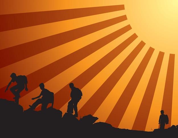 Schoolkinderen die klimmen op het pad naar succes