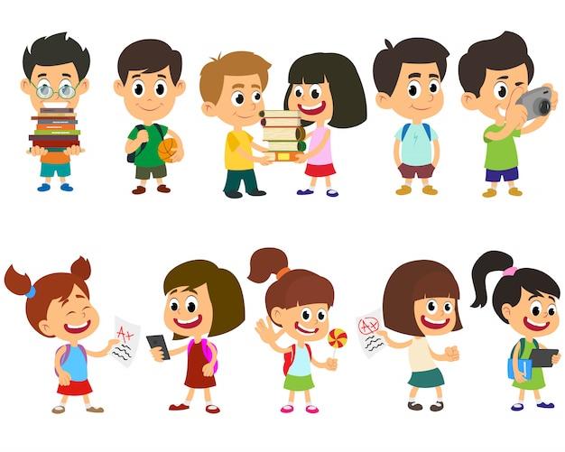 Schoolkinderen gelukkig karakter vector.