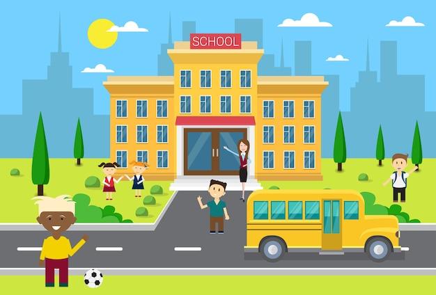 Schoolkinderen groeperen zich in de buurt van school