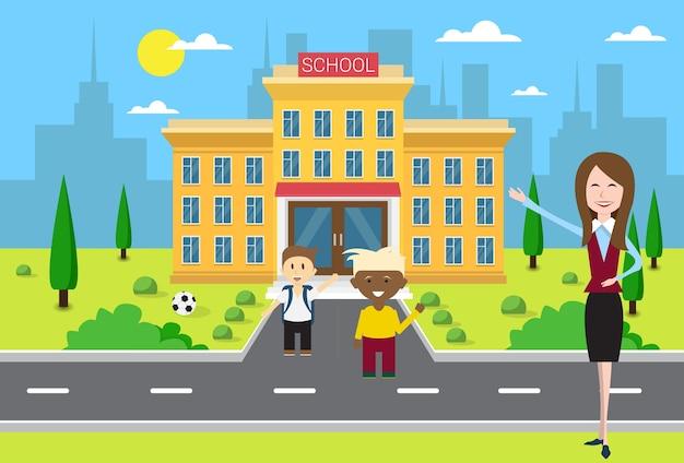 Schoolkinderen groeperen zich met de leraar in de buurt van school