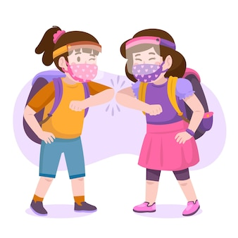 Schoolkinderen groeten in het nieuwe normaal