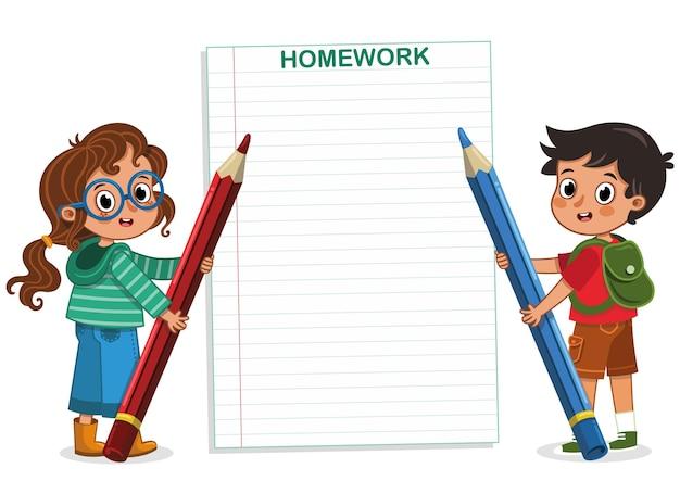 Schoolkinderen houden potloden vast in terug naar school thema vectorillustratie