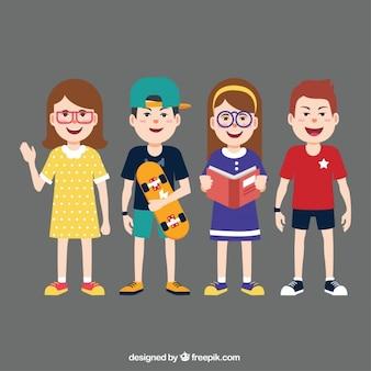 Schoolkinderen karakter pak