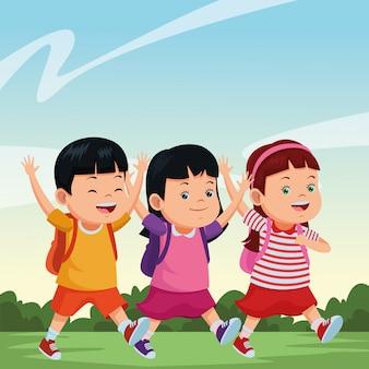 Schoolkinderen lachend met rugzakken