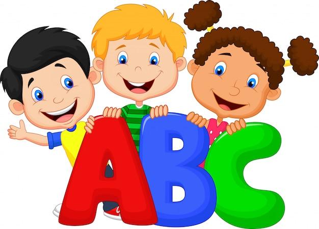 Schoolkinderen met abc