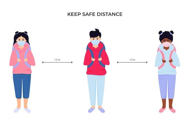Schoolkinderen met beschermende gezichtsmaskers. houd sociale afstand. preventieve maatregelen tijdens de coronaviruspandemie coivd-19
