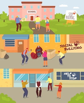 Schoolkinderen pesten illustratie set, cartoon boze tieners spottende triest ongelukkig meisje of jongen, oude man, spot sociaal probleem