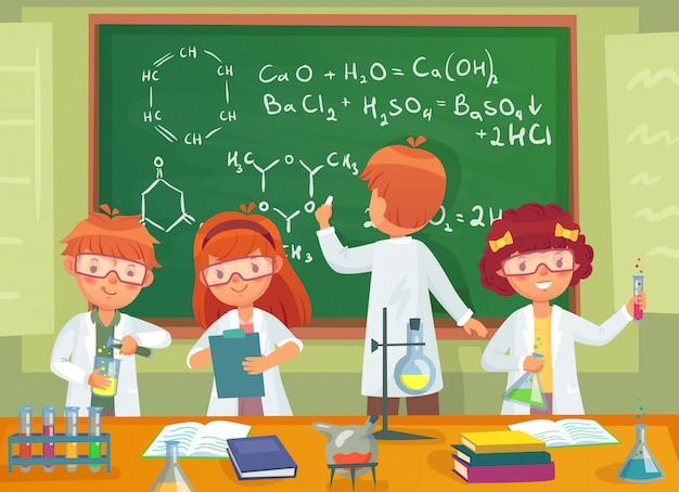 Schoolkinderen studeren chemie. kinderenleerlingen die wetenschap in de illustratie van het laboratoriumbeeldverhaal bestuderen