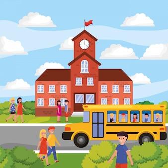Schoollandschap met gele bus