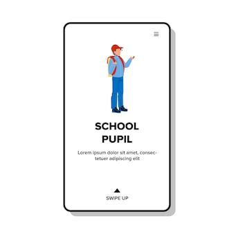 Schoolleerling met rugzak ga klaslokaal