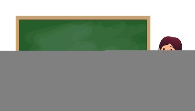 Schoolleraar in de klas in de buurt van een schoolbord