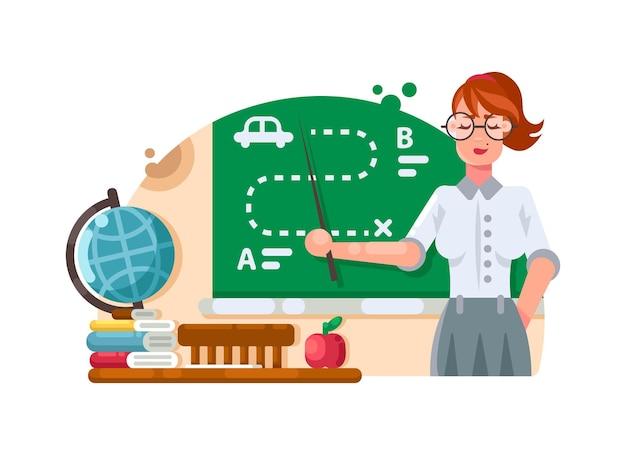 Schoolleraar staat in de buurt van schoolbord en legt de taak uit. vector illustratie