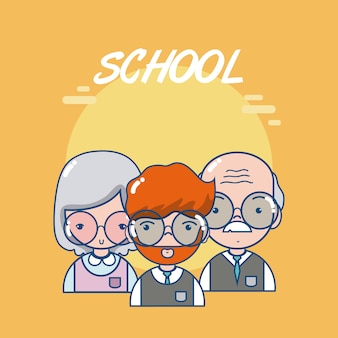 Schoolleraren en studenten leuke cartoon